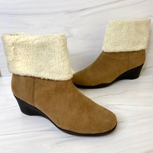 Aerosoles Factory Taupe Cuffed Wedge Ankle Booties